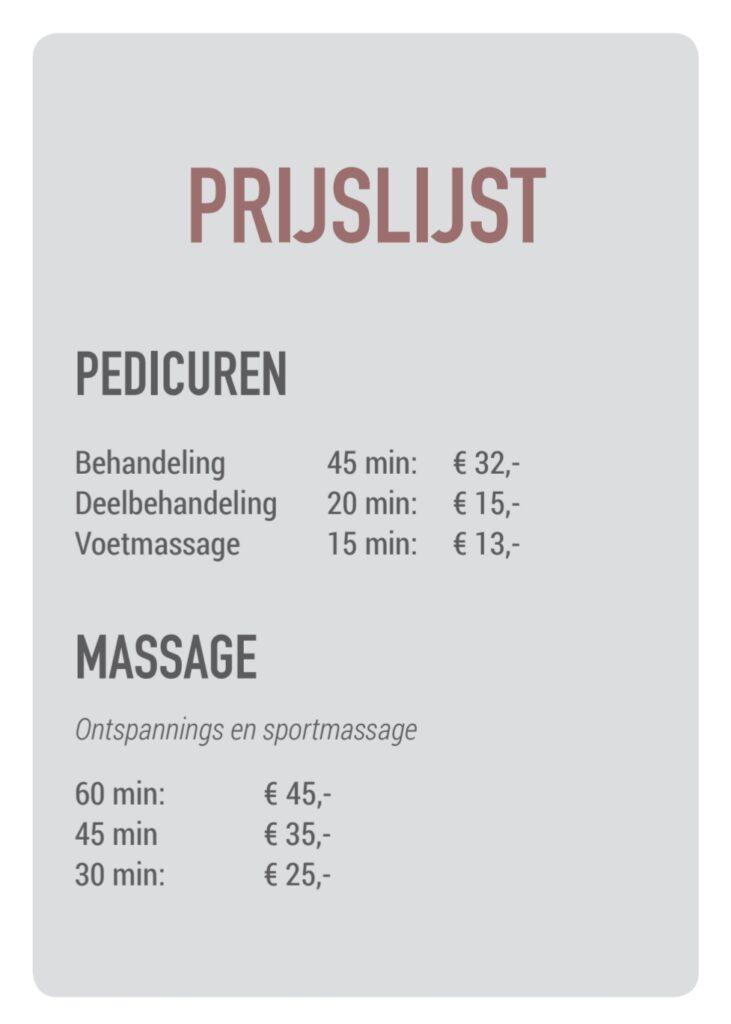 Prijslijst Voet en Ontspan Vlissingen pedicure massage
