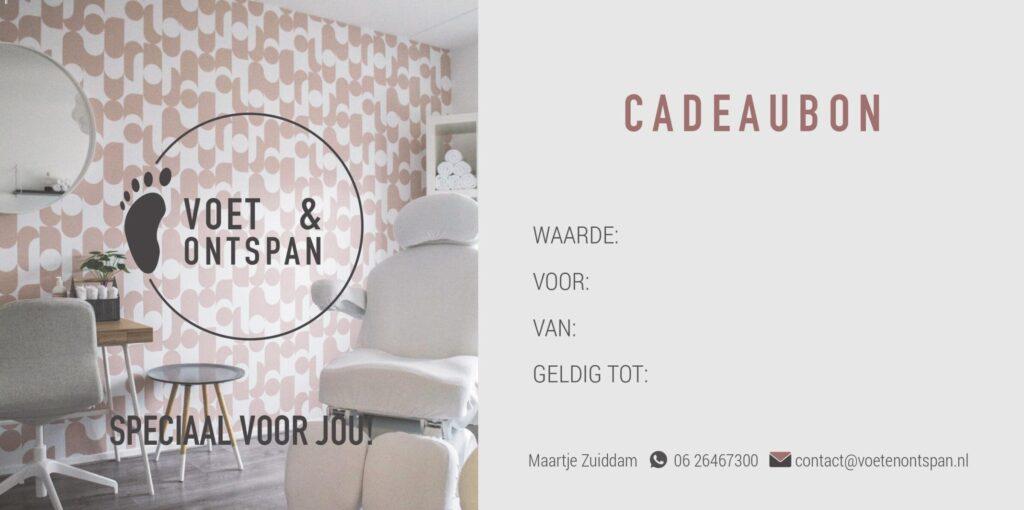cadeaubon voet en ontspan pedicure massage sportmassage Vlissingen Middelburg Oost-Souburg Walcheren